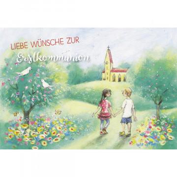 Glückwunschkarte Liebe Wünsche zur Erstkommunion (6 Stück)