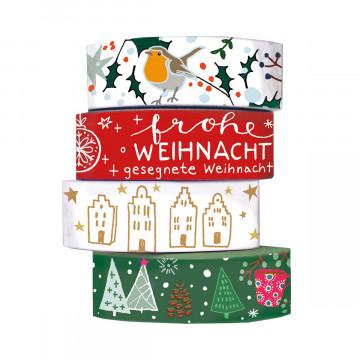 4er-Set Washi-Tapes »Weihnachtsgrüße«