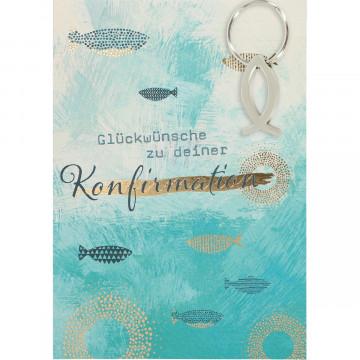 Glückwunschkarte mit Fisch-Schlüsselanhänger - Glückwünsche zu deiner Konfirmation (5 Stück)
