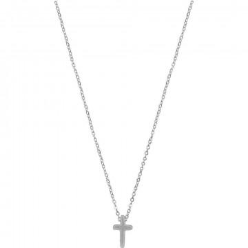 Kette - Halskette mit Kreuzanhänger (versilbert)