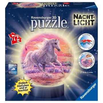 Pferde am Strand, Nachtlicht 3D Puzzle-Ball 72 Teile