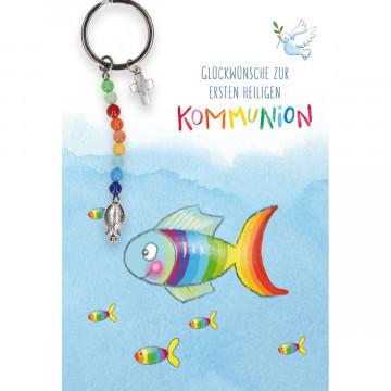 Glückwunschkarte mit Schlüsselanhänger - Glückwünsche zur ersten heiligen Kommunion (5 Stück)
