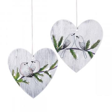2er-Set Herz-Anhänger mit Vögeln