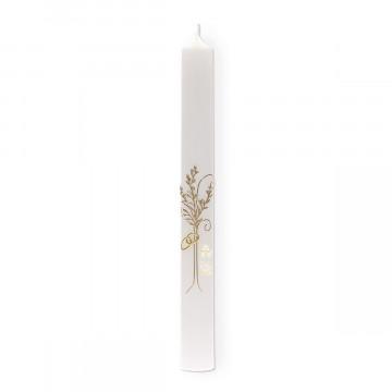 Hochzeitskerze mit Wachsmotiv Baum und Ringe in Gold (1 Stück)
