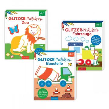 3er-Set Glitzer-Malblöcke