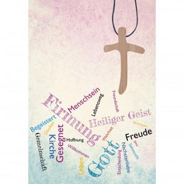 Glückwunschkarte mit Kreuz-Holzanhänger auf Textilband Firmung (5 Stück)
