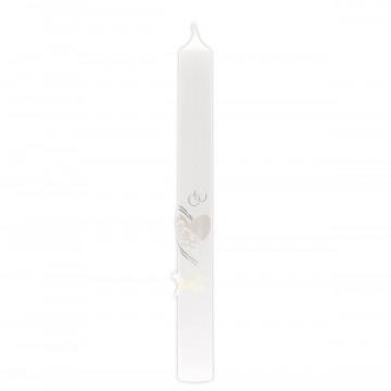 Hochzeitskerze mit Wachsmotiv Herz und Ringe in Silber, mit Schleife (1 Stück)