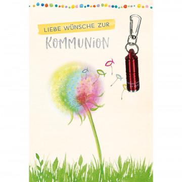 Glückwunschkarte mit roter Taschenlampe Liebe Wünsche zur Kommunion (5 Stück)