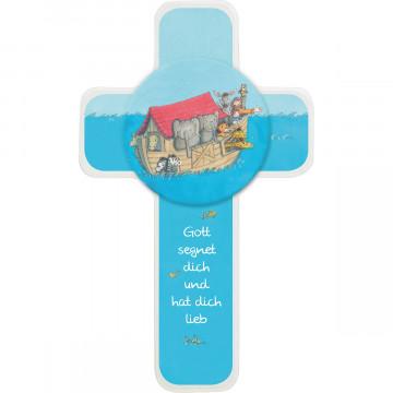 Kinderholzkreuz - Arche Noah mit Holzapplikation (1 Stück)