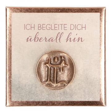 Christophorus-Plakette aus Bronze - Ich begleite dich überall hin (1 Stück)