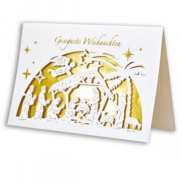3er-Set Weihnachtskarte mit Scherenschnitt »Frohe Weihnacht«