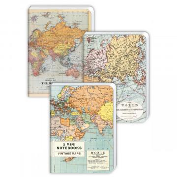 3er-Set Notizbücher »Vintage Maps«