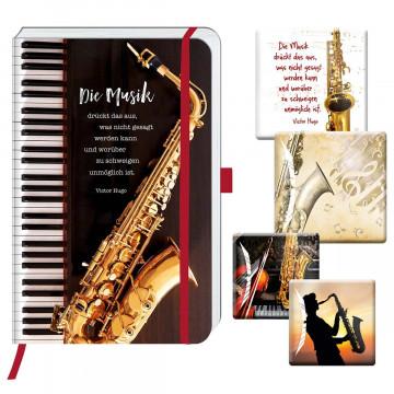 2er-Set Notizbuch und Deko-Magnete »Musik«