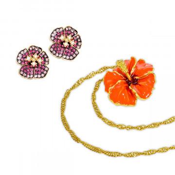 2er-Set Halskette und Ohrringe »Hibiskusblüte«