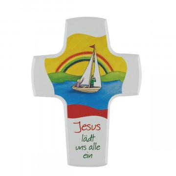 Kinderholzkreuz - Jesus lädt uns alle ein (1 Stück)