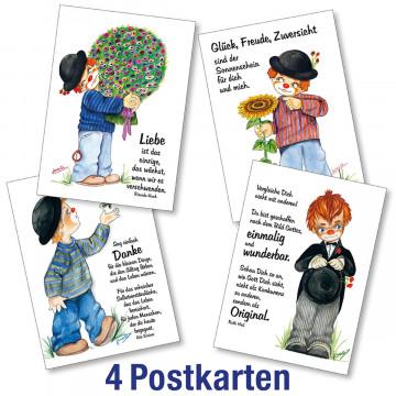 Postkartenserie 4 x 1 Clown-Motive